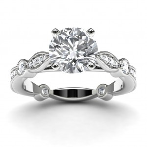 14k White Gold Victorian Diamond Engagement Ring Top View