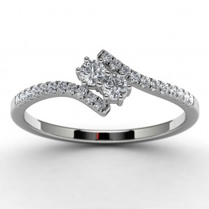 Sterling Silver Diamond Wedding Ring Top View